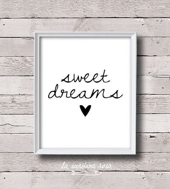Black And White Paintings For Bedroom Bedroom Sets Black Modern Bedroom Black Bedroom Furniture Sets Pictures: Sweet Dreams Print, Girl Room Decor, Typography Print