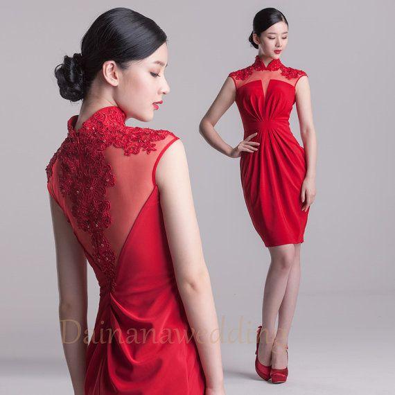 Red Chinese Cheongsam Style Satin Evening Dress,Cocktail Dress,Bridesmaid Dresses