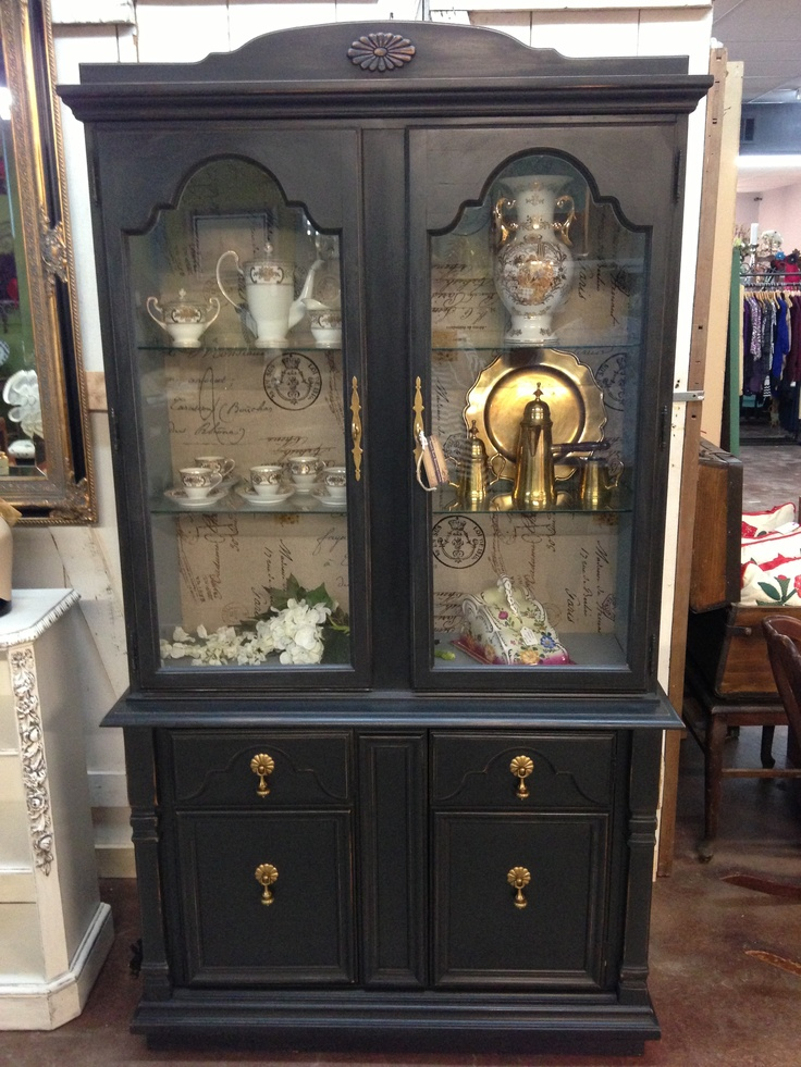 Black Chalk Paint China Cabinet With Blue Gray Interior Burlap Backing With French Script And