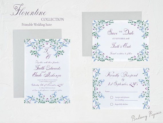 Florentine Printable Wedding Invitation Suite on Etsy.  #etsy #weddingstationery #invitation #weddinginvitation #wedding #illustration #stationery #papergoods #eventstationery #birdsongpaperie #weddingplanning #printableinvite #weddinginvite
