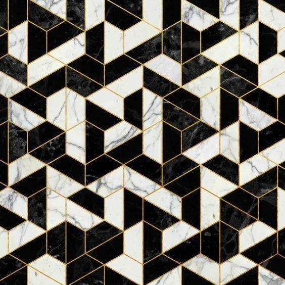 Geometric Black White And Gold Tiles