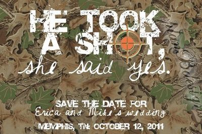 camouflage wedding decorations | Camo/Hunting Save the Date / wedding ideas - Juxtapost