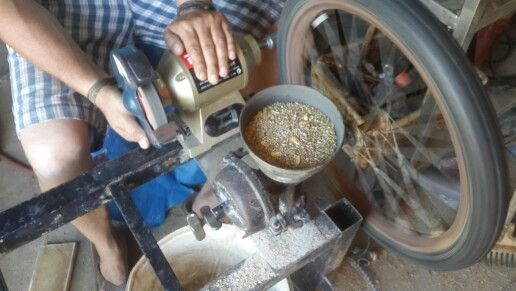 Home made Grain Mill with a Bench Grinder and a recycled bicycle tyre   General Ideas   Pinterest   Bench grinder, Bench and Milling