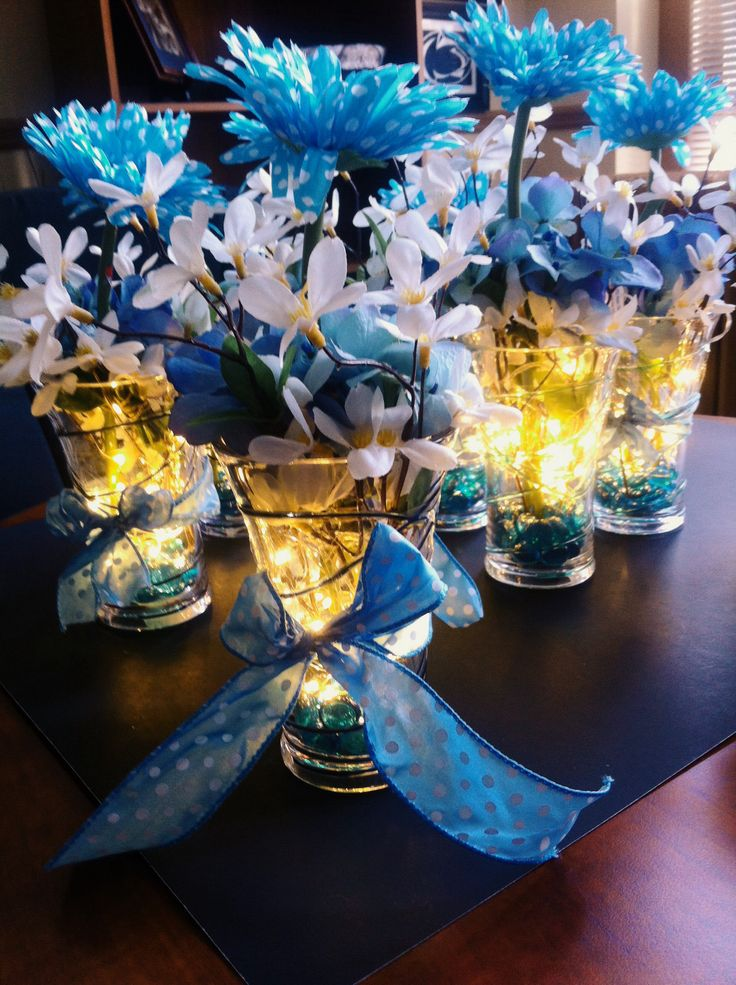 Center pieces for baby shower dollar store glasses led for Baby shower decoration store