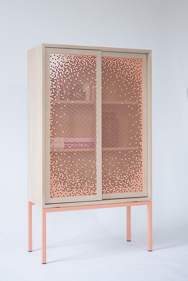 MASHRABEYA Cabinet | Nina Mair | Architecture | Design | Austria | Wooden Frames | Delicate Grid Structure | Contemporary Pattern of Moire Effect | Moving Image |  Whitened Beech | Stained Dark Beech | Combined with Coral or Nubia | Dimensions: WxDxH = 80x34x140 cm |