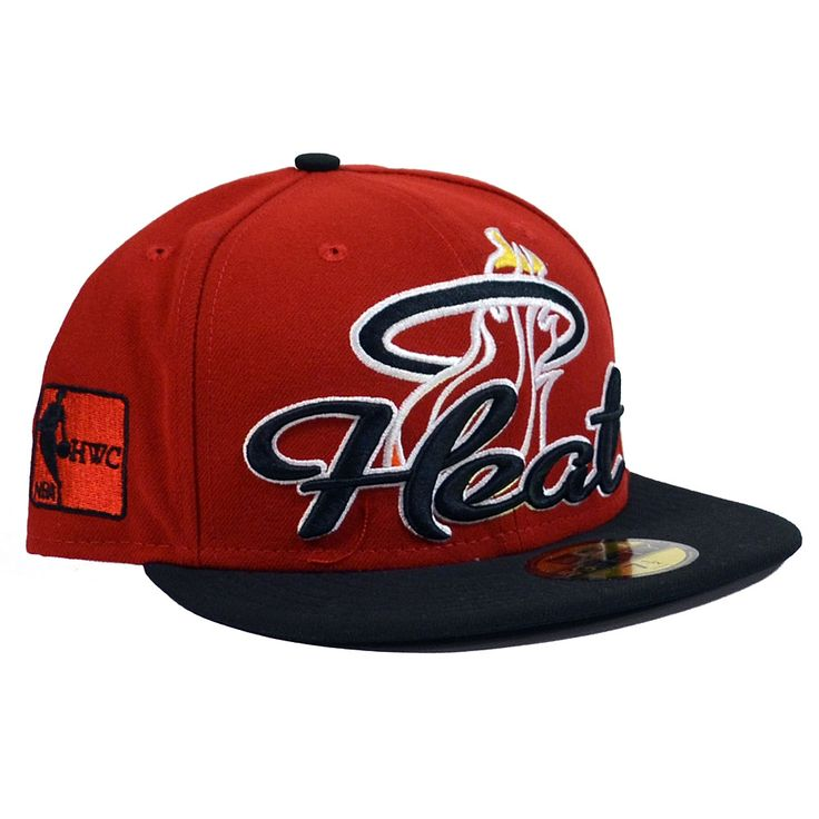 Miami Heat hats  | Details about MIAMI HEAT Script Down 59FIFTY Fitted Hat