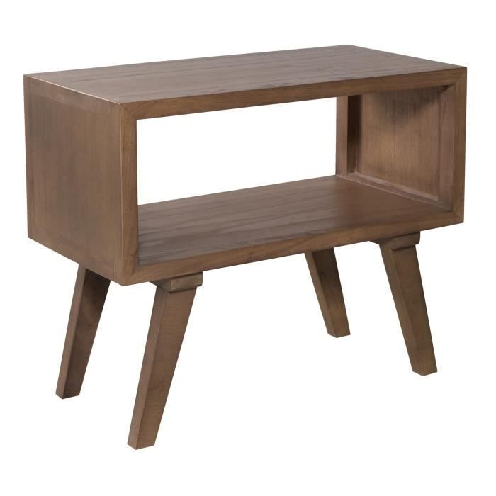 ISTANBUL Scandinavian bedside table in solid mindi 50 cm – cinnamon brown