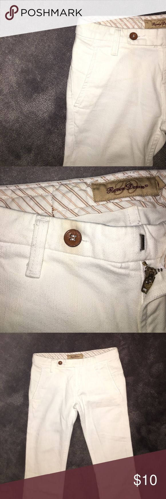 Designer White Flare Pants Some discoloration, in small and hide able areas. Would come out with dry cleaning, however thats why they are an awesome price! Branded for Exposure. Really Raven Denim another Designer. Free People Jeans Flare & Wide Leg