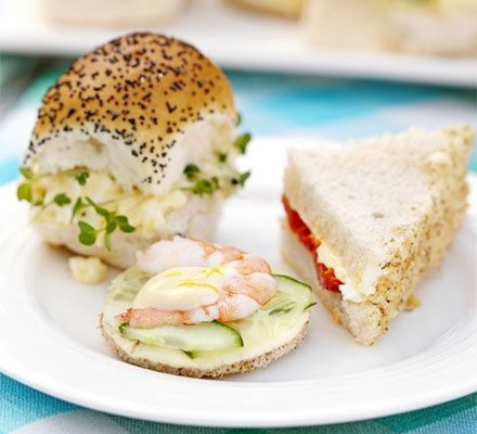 These recipes would be so nice for afternoon tea sandwiches. Goat's cheese, walnut & roasted pepper sandwiches, lemony cucumber & prawn sandwiches, and creamy egg and cress sandwiches.