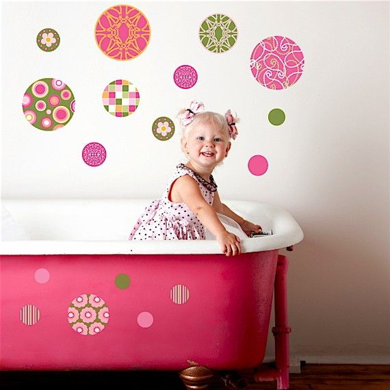 Delightful Dots Pink & Green Wall Decals, Removable and Reusable