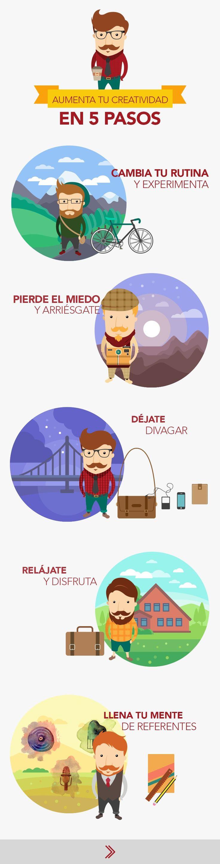 5 pasos para aumentar la creatividad #infografia