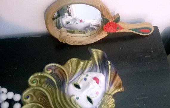 Vanity Mirror Eternal Rose Hand painted and by HandCarvedByNature, $25.00