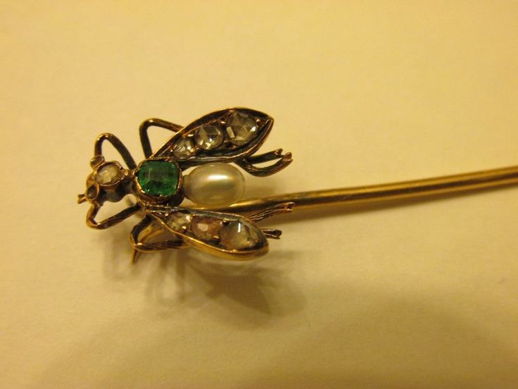 Antique Victorian 15K YG Gold Fly Insect Diamond & Emerald, Pearl Stick Pin