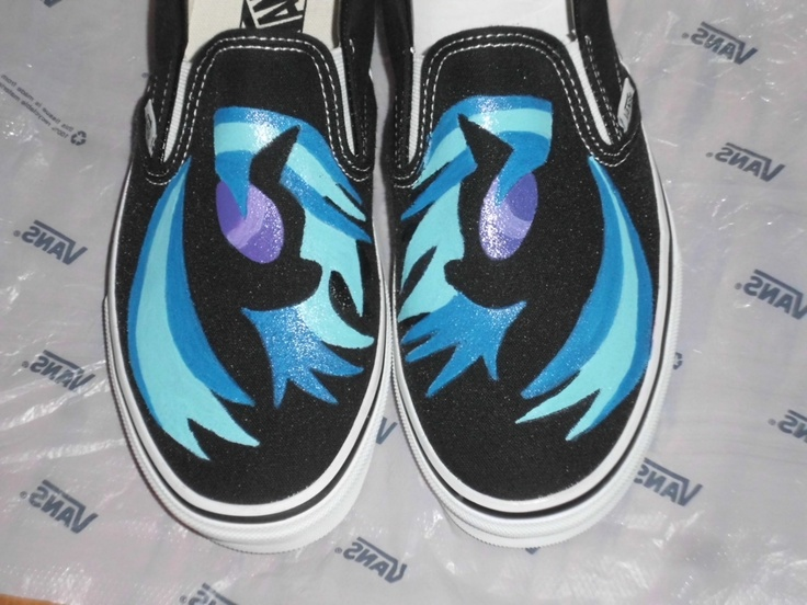 ANY SIZE Any Character My Little Pony Silhouette Custom Painted Shoes Vans Toms Converse Rainbow Dash Pinkie Pie Rarity. $79.95, via Etsy.