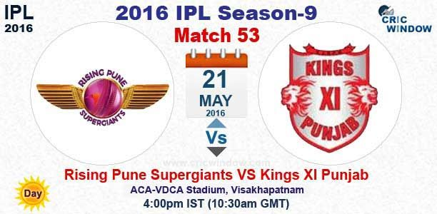 IPL 2016: tch 53 : Pune vs Punjab Live  ACA-VDCA Stadium, Visakhapatnam http://www.cricwindow.com/cricket-live-match-video.html http://www.cricwindow.com/cricket_live_scores.html