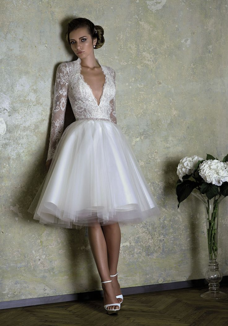 FRENCH LOVE, Chantilly lace with ballerina tulle skirt and crystallized Swarovski short wedding dress