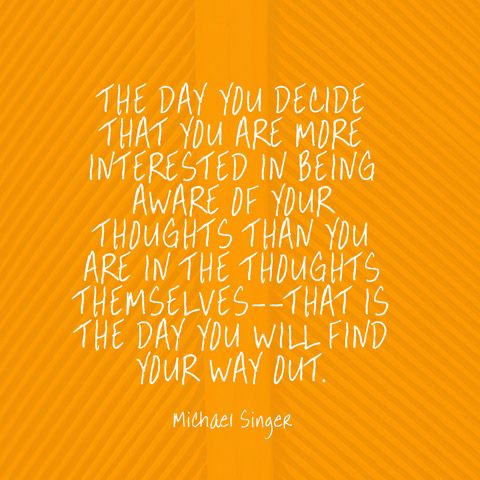 """The day you decide that you are more interested in being aware of your thoughts than you are in the thoughts themselves--that is the day you will find your way out."" — Michael Singer"