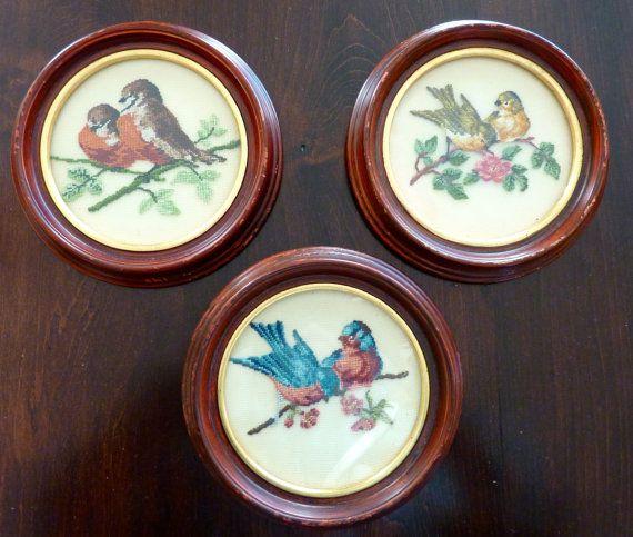 Vintage Completed Needlepoint Birds Design In Round Wooden