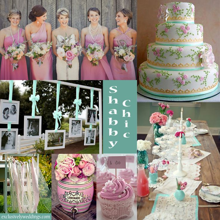 Shabby Chic Wedding - Shabby Chic reflects your good taste but on a budget! | Shown with Aqua and Pink | #exclusivelyweddings