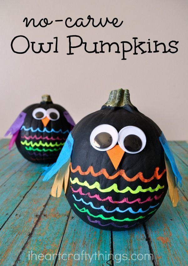 Colorful No-Carve Owl Pumpkins
