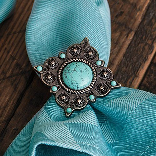 Turquoise Concho Southwestern Napkin Rings - Set of 6 - Southwestern Kitchen Accessories * Visit the image link more details.