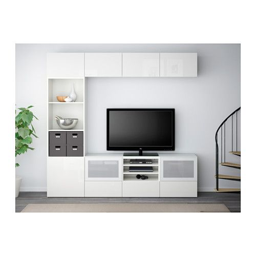 best tv komb mit vitrinent ren wei selsviken hochglanz frostglas wei schubladenschiene. Black Bedroom Furniture Sets. Home Design Ideas