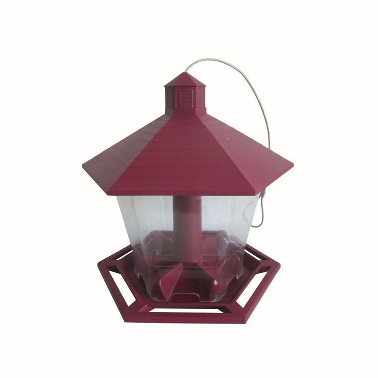 Garden Treasures Red Clear Plastic Hopper Bird Feeder