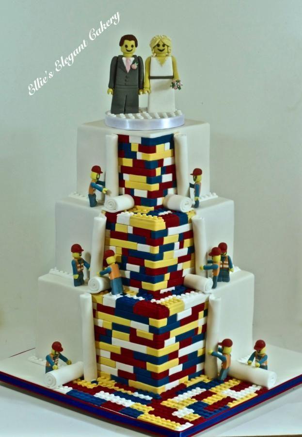 Lego wedding Cake by Ellie @ Ellie's Elegant Cakery - http://cakesdecor.com/cakes/261265-lego-wedding-cake