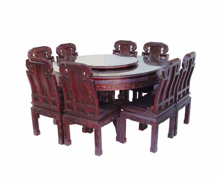 Chinese Rose Wood Flower Carving Round Dinning Table Set/ 8 Chair WK2381  Http:/