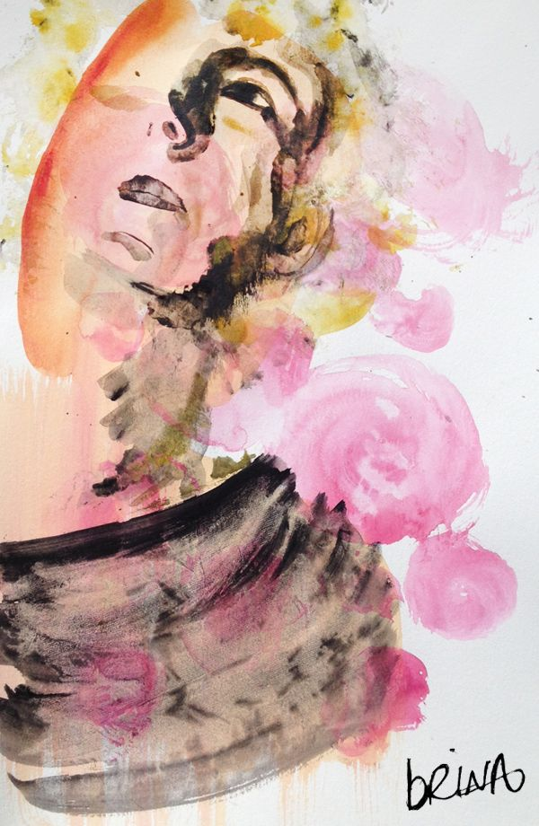 brina schenk - quick acrylic paintings - female face