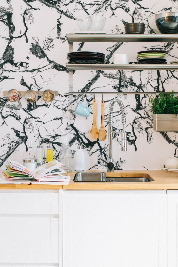 38 best images about kitchen wallpaper ideas on pinterest for Kitchen print wallpaper