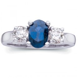 """Here is some fine jewelry. Take a high quality (""""AA"""") genuine oval shaped sapphire, add two very good quality round diamonds, put them in classic designed platinum setting and you have a sensational combination."""