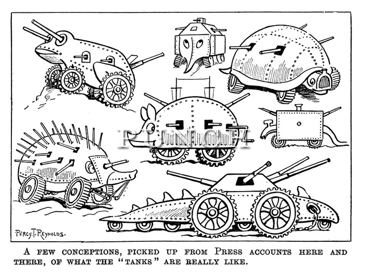 """A few conceptions, picked up from press accounts here and there, of what the ""tanks"" are really like."" Punch magazine cartoon from 1916 on the first appearance of Tanks which were newly introduced to the Battle of the Somme."