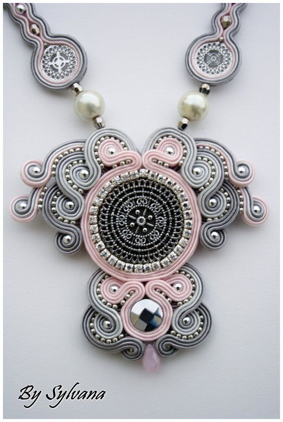 Soutache necklace, soutache jewelry, sutasz, artistic jewelry