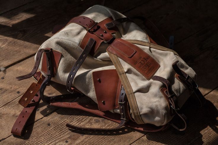 Leather and canvas backpack #071 by Notless Orequal