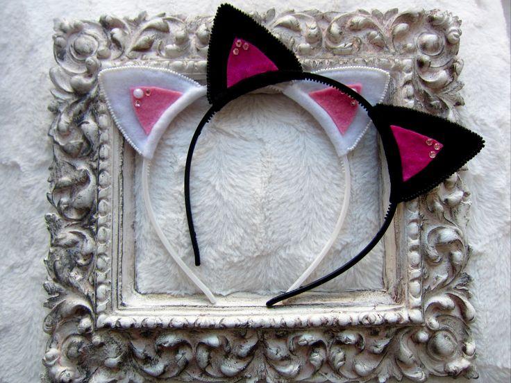 Čelenka kočičí uši z plsti pro malé slečny. Baby headband cat ears from felt.