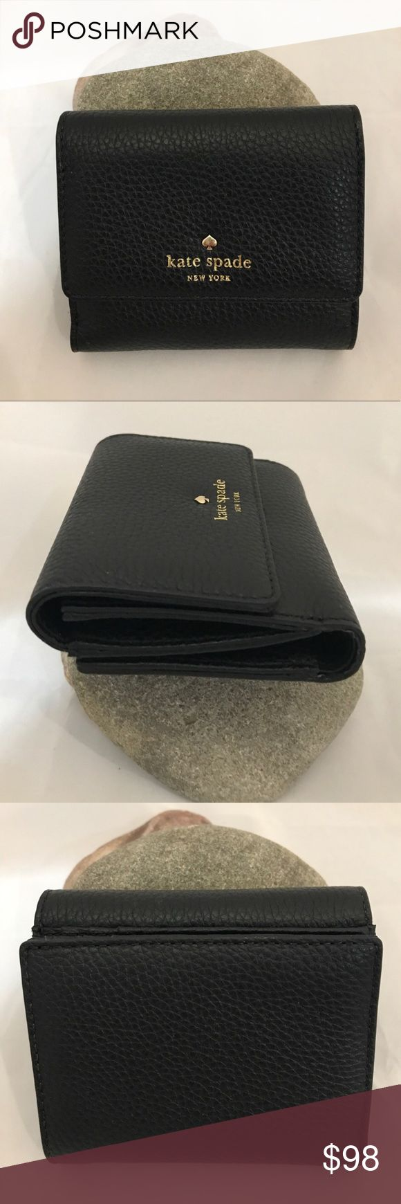 Kate Spade Cobble Hill NWT/Black Wallet Kate Spade Cobble Hill NWT/Black Wallet. NO TRADES. Photos from the Internet could vary slightly from item being shipped.                            soft pebbled cowhide snap closure 6 credit card slots. kate spade Bags Wallets