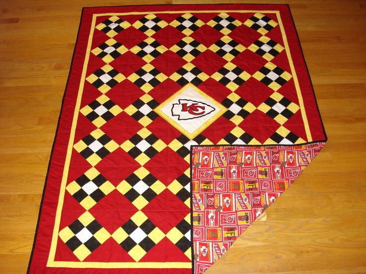 #TBQSC Exclusive ... Kansas City Chiefs Football Tailgating Quilt ... Sports Team Quilt ... Custom Orders Always Welcome @ TBQSC
