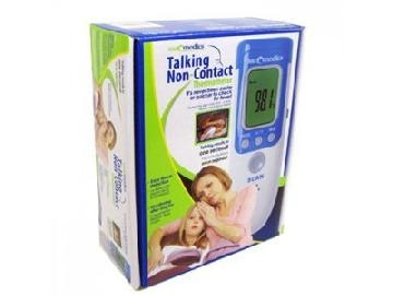 The world's easiest way to take a temperature - it's non-invasive, accurate and speaks the results in 3 languages! This hygienic Sanomedics® touch-free thermometer is incredibly easy to use. Simply aim the unit's sensor toward the forehead and press the button and in one second the temperature reading is displayed on the large backlit color led display. It features large backlit LED display, 3-language talking feature and a 32-reading memory.