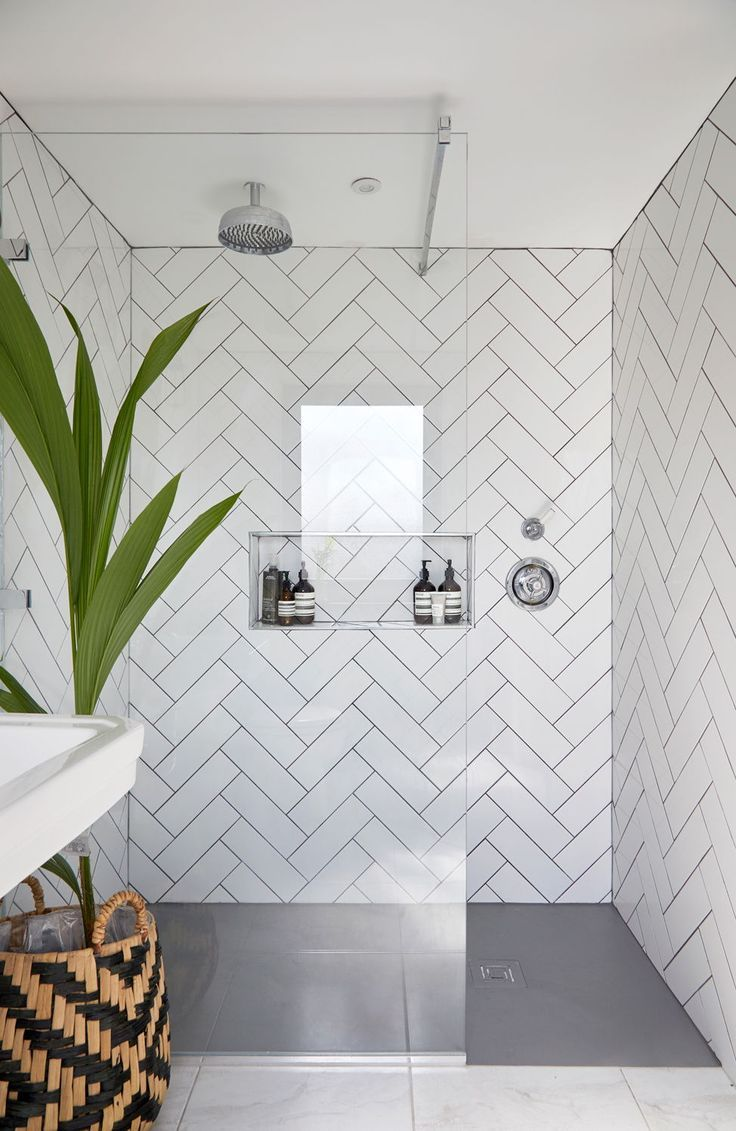 In Love With This Herringbone Pattern In The Shower