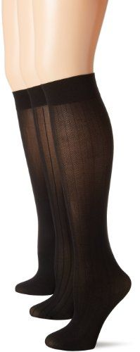 Anne Klein Women's Plus-Size 3 Pack Petite Herringbone Rib Solid Trouser Socks ** Check out the image by visiting the link.