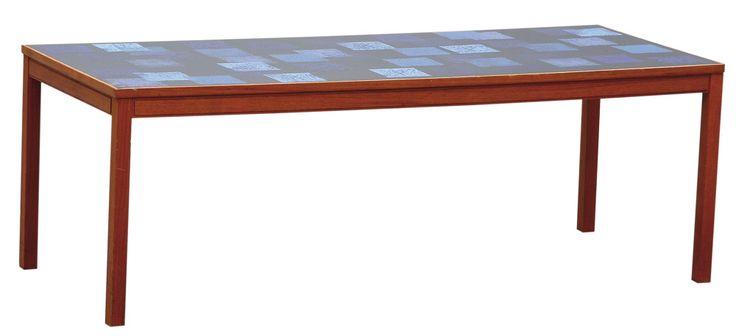 Soffbord med blå emaljskiva, Triva Dura, av Algot Törneman och David Rosén, 1950–60-tal, Bukowskis Market.