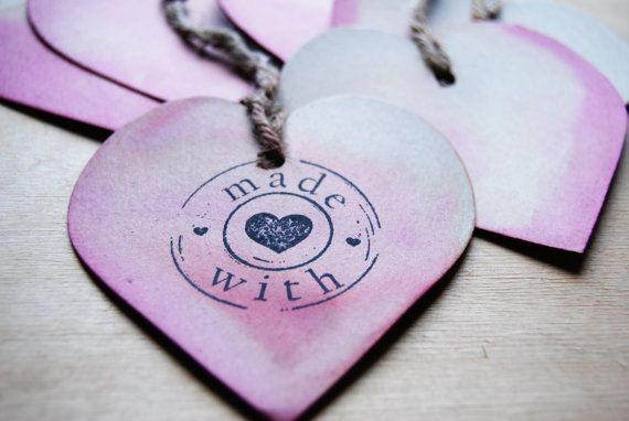 gift tags dip dyed hearts  customizable  by WAIQ on Etsy