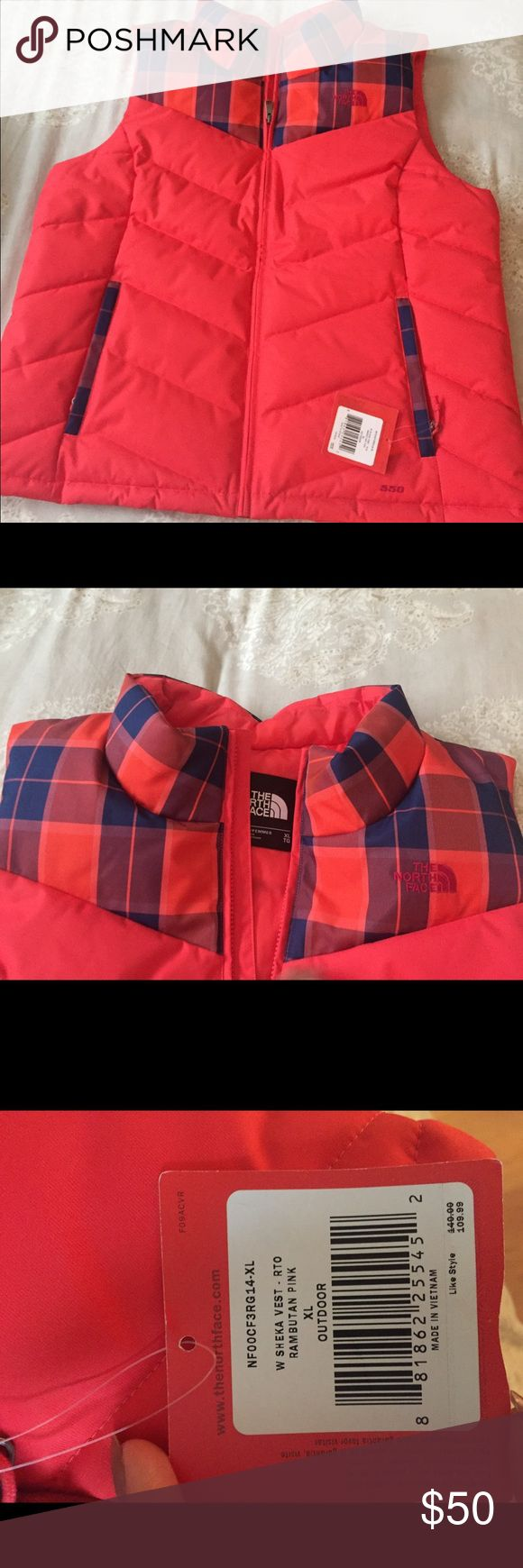 North Face Vest Orange/Peach with Blue plaid at the collar. Brand new. Never worn. North Face Jackets & Coats Vests