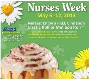 Paging all nurses!! Get a free Cinnabon until May 12, 2013!!
