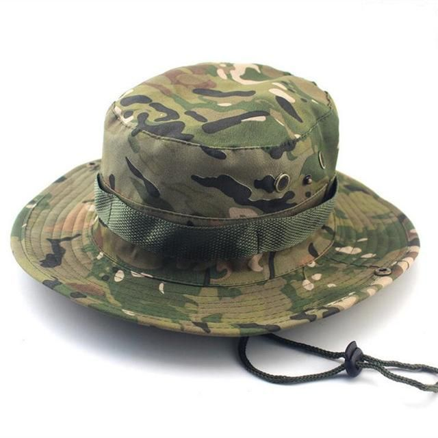 SUMMER BUCKET HATS MILITARY CAMOUFLAGE HAT FOR MEN JUNGLE FISHERMEN HATS  WITH WIDE BRIM SUN HAT 7e56087d99c1