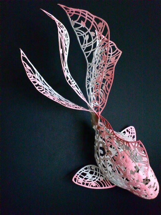 曲面立体切り絵 桜きんぎょ 濱直史 3D paper cutting art