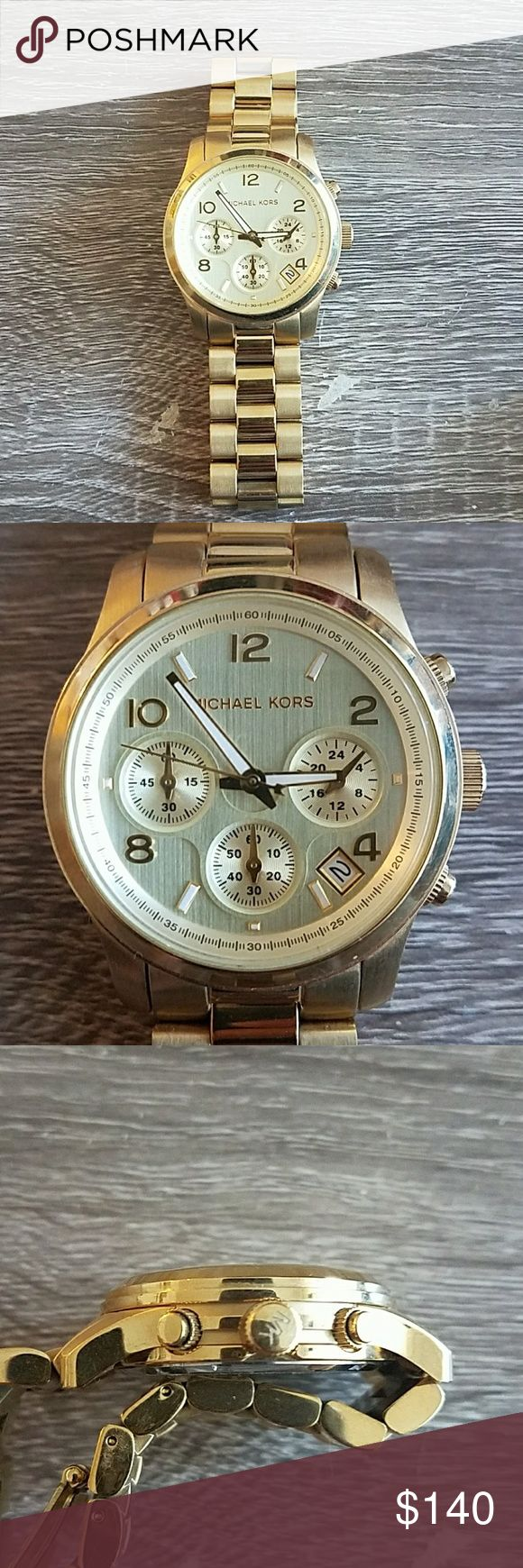Michael Kors Mk 5055. Gold metal band. Worn a few times. No scratches on face. Battery needs to be replaced. Michael Kors Accessories Watches