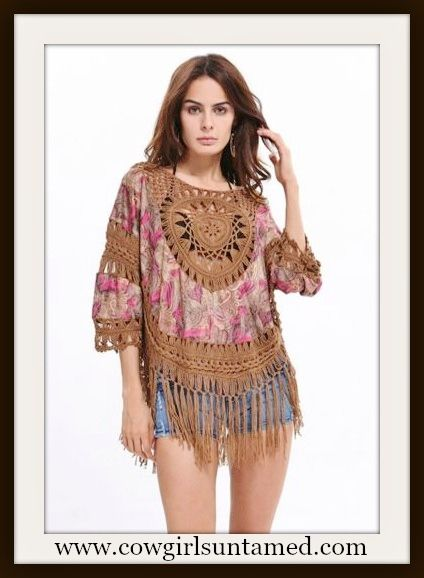 COWGIRL GYPSY TOP Pink Floral and Brown Crochet Lace with Fringe Boho Top