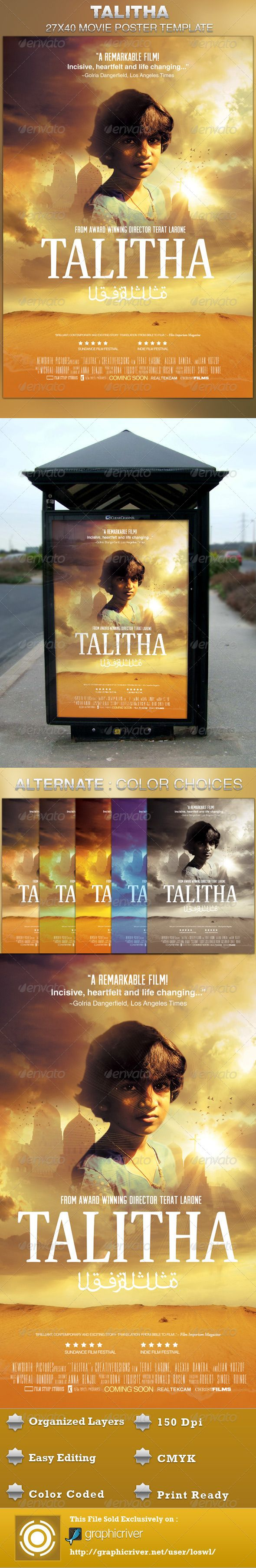 Talitha Movie Poster Template — Photoshop PSD #study #healing • Available here → https://graphicriver.net/item/talitha-movie-poster-template/4533954?ref=pxcr